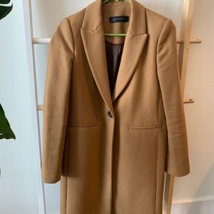 Zara womens tan coat peacoat